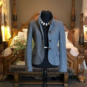 J. Crew Gray Tailored Blazer with Stand Up Collar